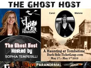 Ghost host supports long time para fraud Carol Malone.
